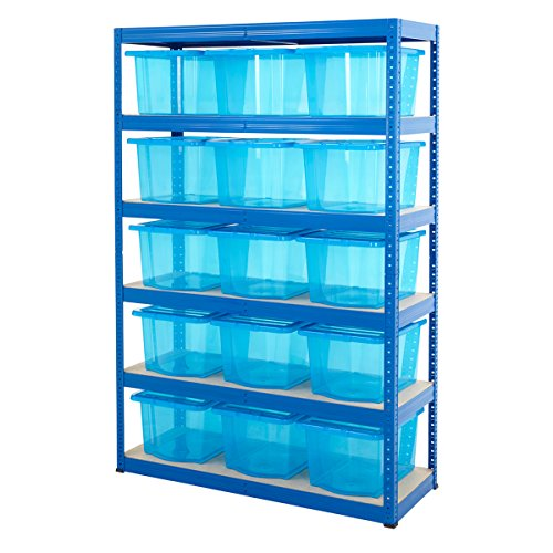 Compare Prices for Garage Shelving Bay With 30 Litre Plastic Boxes 5 Tier Up To 265kg UDL Home Storage (Shelving With 15 Blue Boxes)