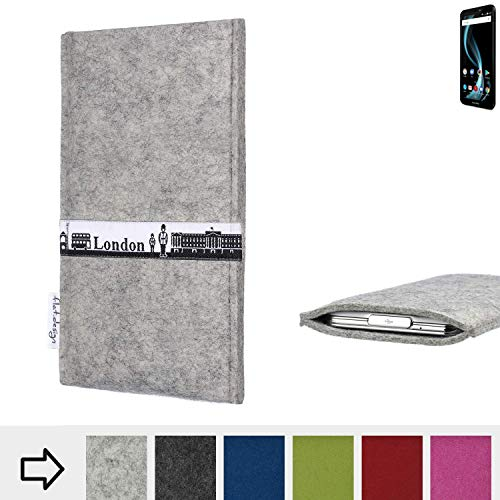 für Allview X4 Soul Infinity L Schutz Hülle Handy Case SKYLINE mit Webband London - Maßanfertigung der Schutztasche Handy-Tasche aus 100% Wollfilz (hellgrau) für Allview X4 Soul Infinity L
