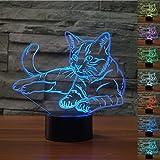 HeXie Weihnachtsgeschenk Magie Kawaii Kätzchen Lampe 3D Illusion 7 Farben
