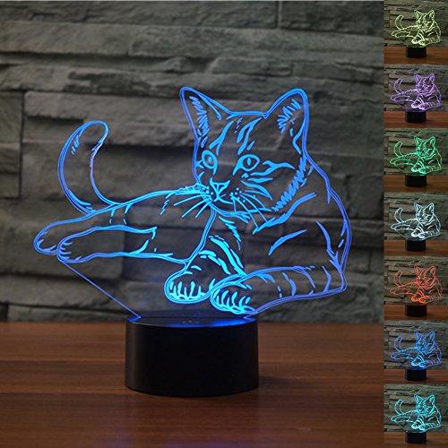 HeXie Cadeau De Noël Magique Kawaii Kitten Lampe 3D Illusion 7 Couleurs Tactile Interrupteur USB Insérer LED Lumière Cadeau D'anniversaire et Décoration De Fête