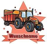 Samunshi® Traktor mit Anhänger Aufkleber mit Namen Autoaufkleber Namensaufkleber Kinder in 7 Größen (10x8,8cm Mehrfarbig)
