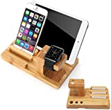 Apple Watch Stand, Splaks Bamboo Wood Charge Dock Holder for Apple Watch & Docking Station Cradle Bracket for iPod iPhone iPad & Other Phones Tablets
