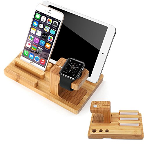 Splaks Apple Watch Stand, Bambus Premuim Apple Watch Halterung Stift Halter - Uhr Halter Stift