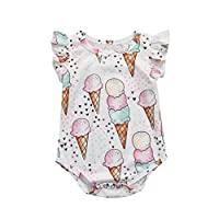 SHOBDW Girls Rompers, Newborn Infant Baby Cute Cartoon Ice Cream Print Ruffles Sleeveless Summr Playsuit Outfits Birthday Gifts