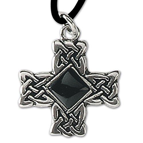 DarkDragon Anhänger Druidenkreuz Keltisches Kreuz 925er Silber Keltenkreuz mit Lederhalsband Celtic Schmuck 612