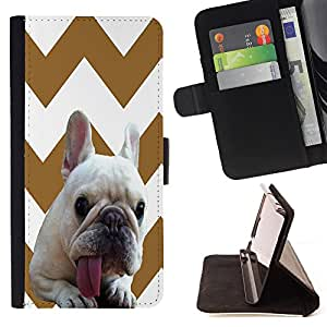 Pattern Queen - FRENCH BULLDOG Chevron - FOR LG OPTIMUS L90 - Lederne Fall-Abdeckung Credit Card Slots Flio Flip Wallet Card