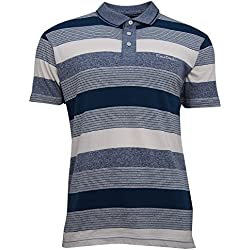 Pierre Cardin Polo a Rayas con Bordado de Firma Rico EN Algodón (Large, Teal/Denim/White Stripe)