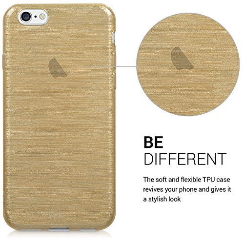 kwmobile Hülle für Apple iPhone 6 / 6S - TPU Silikon Backcover Case Handy Schutzhülle - Cover Taupe Brushed Aluminium Gold Transparent