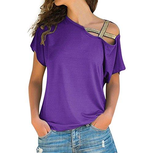 Blusas para Mujer Verano,♥ Modaworld Camiseta De Manga Corta Sin Tirantes para Mujer Ropa De Playa De Impresión Retro De Mujeres Vestido De Playa Camisetas