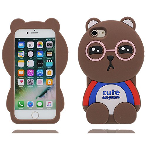 MZBaoLingMeiDongEU Tier-Sammlung des Rosa Brille Bär -3D Fall - Art- und Weisenette Karikatur-Flexibles Silikon-weiches Gel TPU zurück schützende Abdeckung für iPhone 6 Plus/iPhone 6S Plus (5.5