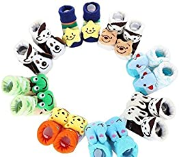 EIO Soft Cotton Fancy Cartoon Face Booties Socks, 0-6 Months (Random Colour, 785) - Pack of 4