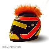 Helm-Irokese für den Motorradhelm, Crosshelm, Motocrosshelm oder Skihelm - verwandelt den Helm in ein EINZELSTÜCK - der HINGUCKER - Irokesenaufsatz Punk - Helm-Aufkleber (Orange)