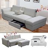 Di-Nesh KIN Funktionssofa mit Bluetooth Weiss Schlafsofa Sofa Bettsofa Couch