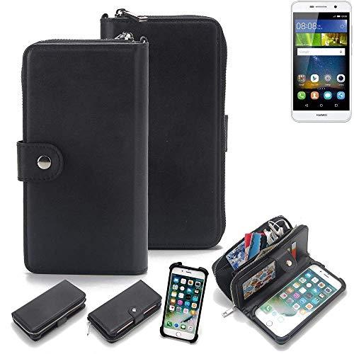 K-S-Trade 2in1 Handyhülle für Huawei Y6Pro LTE Schutzhülle und Portemonnee Schutzhülle Tasche Handytasche Case Etui Geldbörse Wallet Bookstyle Hülle schwarz (1x)