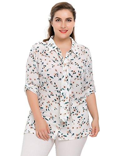 Chicwe Blusas Tallas grandes Mujeres Camiseta de Gasa Tops Casual V-Cuello Corbata 1X
