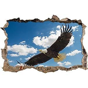 Pixxprint 3D_WD_2105_92x62 Adler hoch in den Wolken Wanddurchbruch 3D Wandtattoo, Vinyl, bunt, 92 x 62 x 0,02 cm
