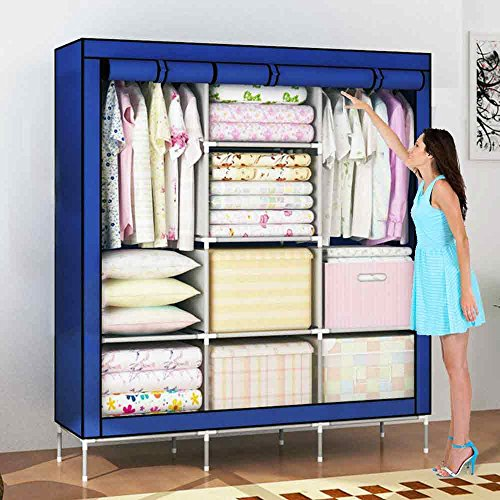 House of Quirk 66inch Portable Wardrobe stainless steel Cloth Closet Organizer Storage with Cover and Clothes Rods Durable Sturdy shelves(Navy Blue)