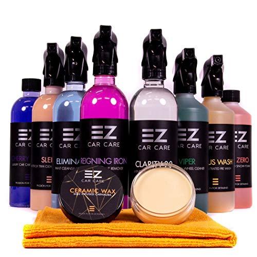 EZ Car Care Weekend Warrior Kit - Premium Autoreinigungsset inkl. SI02 Keramik-Carnauba-Wachs 50 ml, Auto-Shampoo, Fallout-Entferner, Schneeschaum und Felgenreiniger Kit Car Care