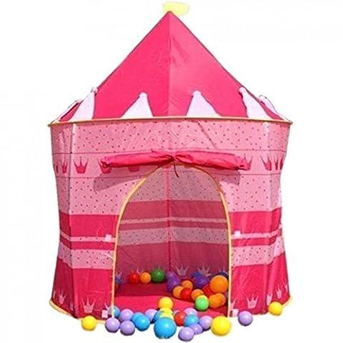 Gazechimp Intérieur Et D'extérieur Enfants Playhouse Fille Rose Pop-up Château Tente Princesse
