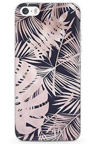 Case Warehouse iPhone 5 / 5s / SE Designer Fashion Black Tropical Leaves Schutz Gummi Handyhülle TPU Bumper Süss Stein Girls Gold Modisch (Iphone 5 Case Fashion Girl)