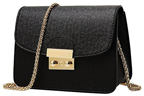 Honeymall Kleine Damentasche Umhängetasche Citytasche Schultertasche Handtasche Elegant Retro Vintage Tasche Kette Band(Schwarz) (Schulter-handtasche Kleine)