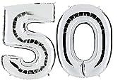 PartyMarty Ballon Zahl 50 in Silber - XXL Riesenzahl 100cm - zum 50. Geburtstag - Party Geschenk Dekoration Folienballon Luftballon Happy Birthday