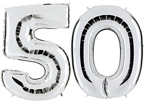 PartyMarty Ballon Zahl 50 in Silber - XXL Riesenzahl 100cm - zum 50. Geburtstag - Party Geschenk Dekoration Folienballon Luftballon Happy Birthday (50 Ballons Geburtstag)