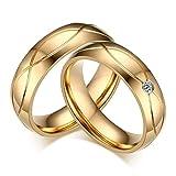 SonMo 2 Stück Frau Mann Edelstahl Ring Zirkonia Herren Ring Zirkonia Gold für Paare Gold Frau:60 (19.1) & Mann:57 (18.1)