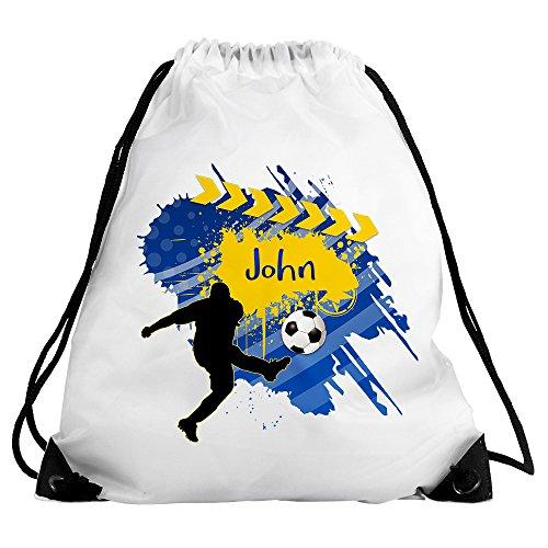 Eurofoto Turnbeutel mit Namen John und Fußball-Motiv für Jungen   Sport-Beutel für Kinder   Gymbag