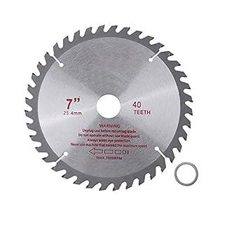 Hoja de sierra circular, herramienta de corte de madera de carburo cementado de disco de hoja de corte de 40 dientes de 180 mm x 25,4 mm para aluminio, latón, etc.