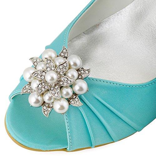 ElegantPark EP2009 Escarpins Femme Compense Satin Bout ouvert Chaussures de mariee mariage bal AE01 Menthe vert