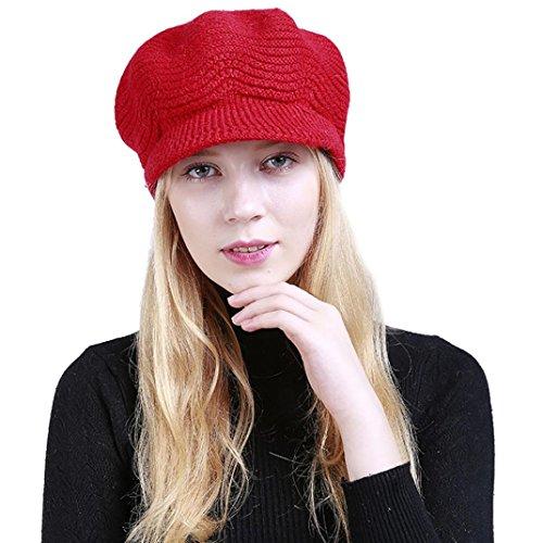 Damen Strickmützen,Beikoard Mode Solide Warm Crochet Winter Wolle Stricken Manuelle Mützen Hut (Rot)