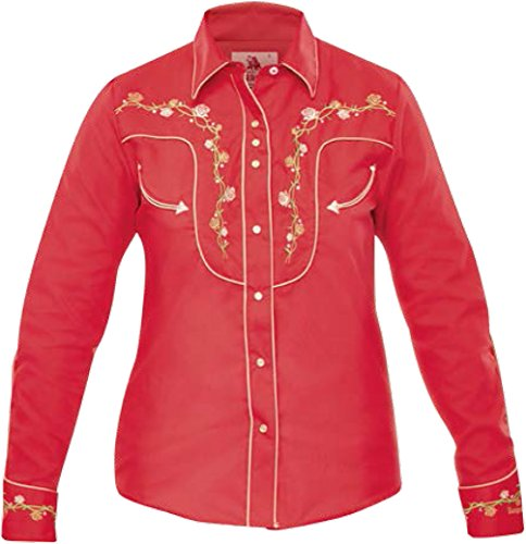 Modestone Women's Embroidered Fitted Western Hemd Floral Red S - Panhandle Slim Rock