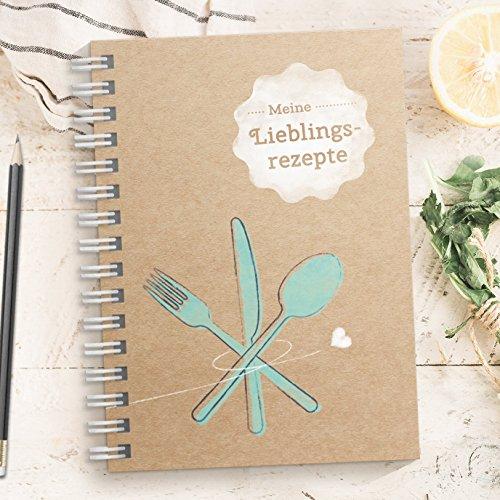 DIY Rezeptbuch zum selberschreiben - Meine Lieblingsrezepte - Modernes DIN A5 Kochbuch zum selbstgestalten mit Inhaltsverzeichnis, Register und Schutzfolie (Made in Germany)