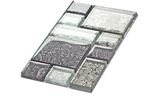 Fantasia 10x 10cm. Vetro mosaico piastrelle modello nero e argento con pietre in tre diverse misure (MT0044modello)