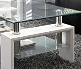 Mesa centro moderna de cristal, patas lacadas color Blanco