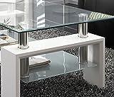 Mesa centro moderna de cristal, patas lacadas color Blanco Brillo
