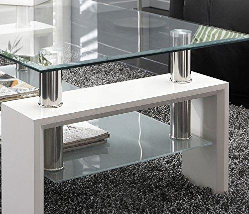 Mesa centro moderna de cristal, patas lacadas color Blanco Brillo, medidas: 110x60x45 de altura