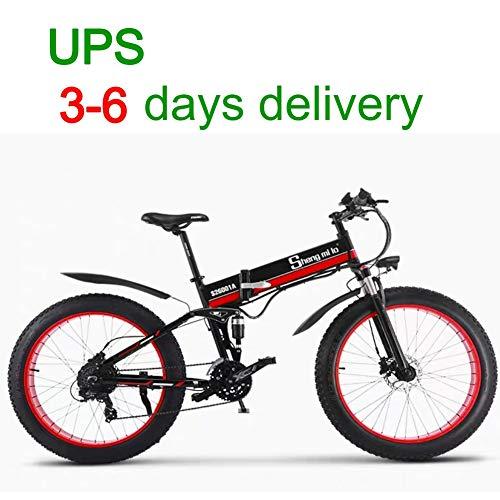 Unbekannt 500 Watt 26 Zoll männer Elektrische Fahrrad 48 V 12Ah Fat Tire Strand Fahrrad Mountainbike Vollfederung MTB Ebike 21 Geschwindigkeiten