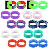 "OUFER 20pcs Silicone Ear Gauges Marble Pearlized Flesh Tunnels Plugs Earrings Mixed Color 6g-1""Expander Ear Plug Piercing Jewelry"