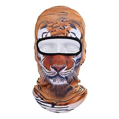 ECYC Masque facial chaleureux Capuchon de balaclava contre le vent pour moto Ski Winter Snowmobile Recherche en plein air Cold Weather [tigre]