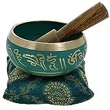 Meditazione ciotola canto buddista arte verde tibetano Décor 10,2cm