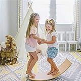 YDBET Kinder Kid Yoga Kurvige Brett aus Holz Wobble Balance Board Als Seesaw Tunnel Boot Rocker Schlitten Balancing - Lernspielzeug -