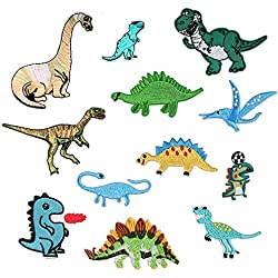 12PCS Dinosaur Animal Appliques patch per abbigliamento Iron On or Sew on embroidered patch applique