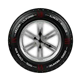 Idealtrend Carolina Wanduhr ca. 51x51x13 cm Auto Reifen Metalluhr Runde Metall Wand Uhr
