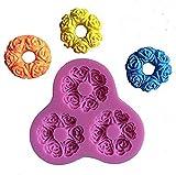 Inception Pro Infinite SA031 - Stampo in silicone per uso alimentare di 3 biscotti con rose - Pasta di zucchero - Fondenti - Torte - Pancake - Muffin - Decorazioni