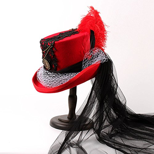 JILAN HOME- Gothic Viktorianischer Raben Schwarzer u. Roter Hochzeits-Hut-Band-kreativer Pers5onlichkeit-Spitze-Hut ( Farbe : 1 , größe : 61cm ) (Raben Garn)