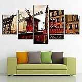 mmwin Imagen de Lienzo Modular HD Impreso 5 Piezas Rojo Molino de Viento y Retro Escenario Artístico Decoración de Arte Sala de Estar Hogar Pared