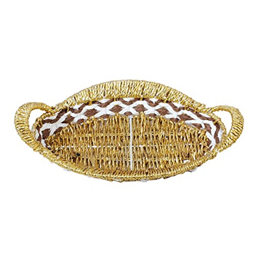 Paper & Plastic Oval Shaped Golden Basket by Triveni