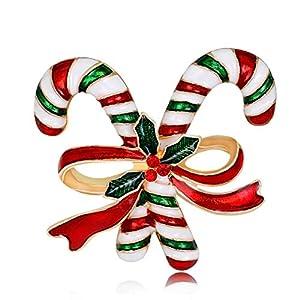 GROOMY Christmas Brosche Pins Double Crutch Mode Winter Kreative Schmuck Frauen Geschenke